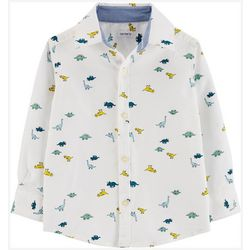 Carters Toddler Boys Dino Button-Down Long Sleeve T-Shirt