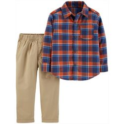 Carters Toddler Boys Red & Blue Plaid Button Up Pants Set