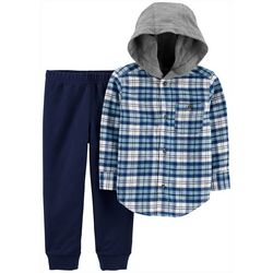 Carters Toddler Boys Plaid Button Down Hoodie & Pants Set