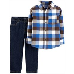 Carters Toddler Boys 2-pc. Big Plaid Button Down Pants Set