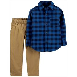 Carters Toddler Boys 2-pc. Navy Plaid Button Down Pants Set