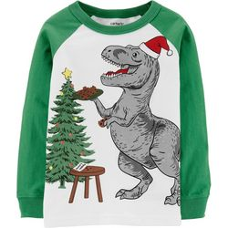 Carters Toddler Boys Christmas T-Rex Long Sleeve T-Shirt