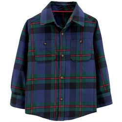 Carters Toddler Boys Plaid Double Pocket Button-Down T-Shirt