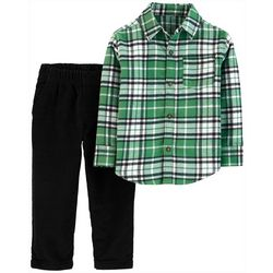 Carters Toddler Boys 2-pc. Green Plaid Button Down