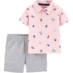 Carters Toddler Boys Tropical Polo & Striped Short Set