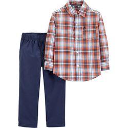 Carters Toddler Boys Plaid Button Down Pants Set