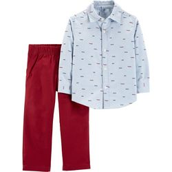 Carters Toddler Boys Happy Little Guy Button Down Pants Set