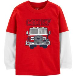 Carters Toddler Boys Chief Fire Truck Long Sleeve T-Shirt