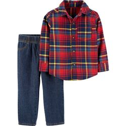 Carters Toddler Boys Plaid Button Down Jeans Set