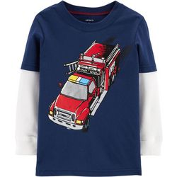Carters Toddler Boys Fire Truck Long Sleeve T-Shirt