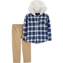 Carters Toddler Boys Plaid Hooded Flannel Pants Set