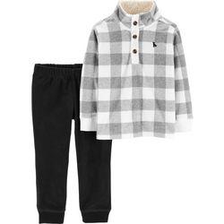 Carters Toddler Boys Plaid Fleece Sweater Pants Set