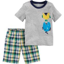 Carters Toddler Boys Plaid Fish Shorts Set