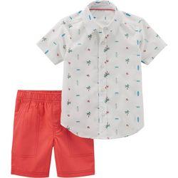 Carters Toddler Boys Beach Button Down Shorts Set