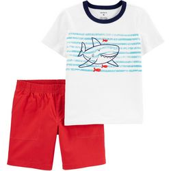 Carters Toddler Boys Shark Tee & Poplin Short Set