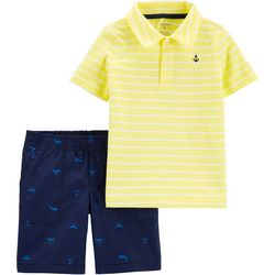 Carters Toddler Boys Striped Polo & Whale Short Set