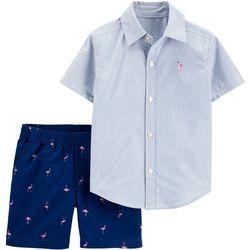 Carters Toddler Boys Stripe Flamingo Shorts Set