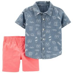 Carters Toddler Boys Beach Chambray Button Down Shorts Set