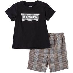 Levi's Toddler Boys 2-pc. Plaid Batwing Logo Shorts Set