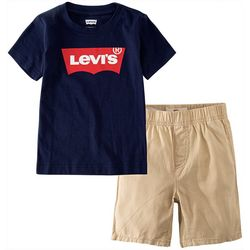 Levi's Toddler Boys 2-pc. Batwing Logo Shorts Set
