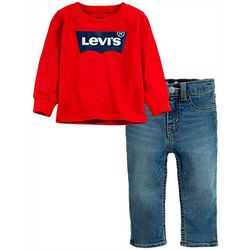 Levi's Toddler Boys 2-pc. Batwing Logo Sweater & Jeans Set