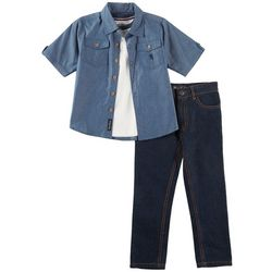 English Laundry Toddler Boys 3-pc. Button Down Jeans Set