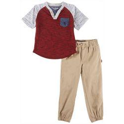 English Laundry Toddler Boys Henley Jogger Pants Set