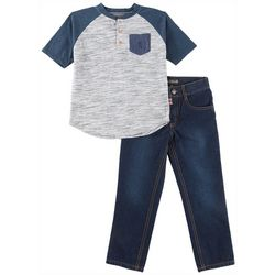 English Laundry Toddler Boys Heathered Henley Jeans Set