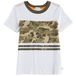 Flapdoodles Toddler Boys Dinosaur Camouflage Pocket T-Shirt