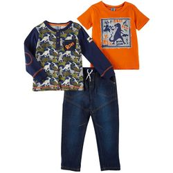 Little Lad Toddler Boys 3-pc. Dino Roar Jeans Set
