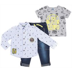 Little Lad Toddler Boys 3-pc. Live Life Loud Jeans Set