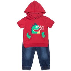 Boys Rock Toddler Boys Dinosaur Hoodie Jeans Set