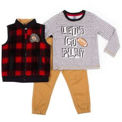 Little Lad Toddler Boys 3-pc. Let's Go Play Top & Vest Set