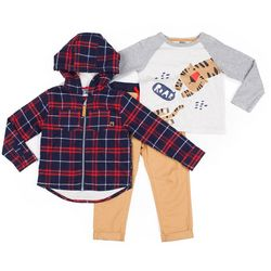 Little Lad Toddler Boys 3-pc. Roar Plaid Jacket Set
