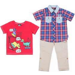 Boys Rock Toddler Boys 3-pc. Plaid Dinosaur Pants Set
