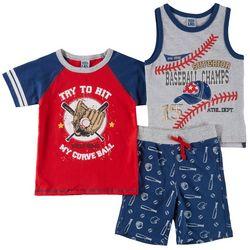 Little Lad Toddler Boys 3-pc. Baseball Shorts Set