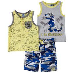 Little Lad Toddler Boys 3-pc. Dinosaur Camo Shorts Set