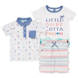 Boys Rock Toddler Boys 3-pc. Little Dude Lotta Fun Short Set