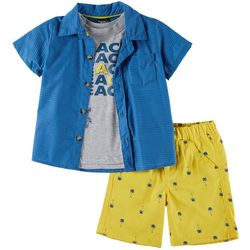 Little Rebels Toddler Boys 3-pc. Beach Palms Tree Shorts Set