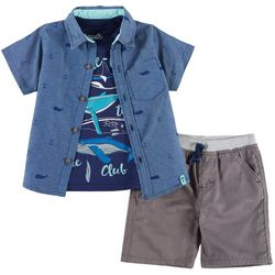 Little Rebels Toddler Boys 3-pc. Whale-come Shorts Set
