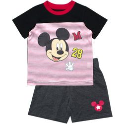 Disney Mickey Mouse Toddler Boys Striped Shorts Set