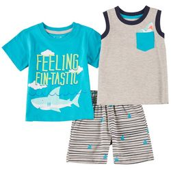 Little Rebels Toddler Boys 3-pc. Fin-tastic Tank Shorts Set
