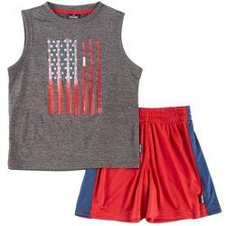 Spalding Toddler Boys Baseball Flag Tank Shorts Set