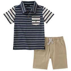 Nautica Toddler Boys Striped Polo Shorts Set