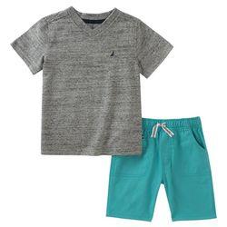 Nautica Toddler Boys Heathered V-Neck Shorts Set
