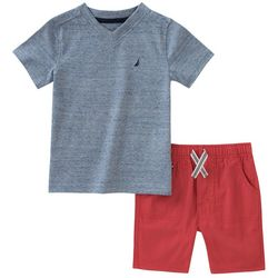Nautica Toddler Boys Heathered V-Neck Shorts Set