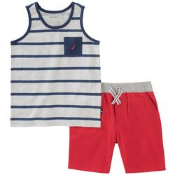 Nautica Toddler Boys Stripe Pocket Tank Shorts Set