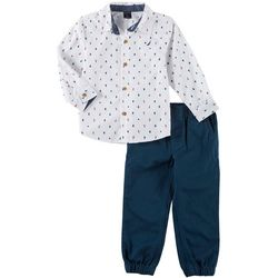 Nautica Toddler Boys Sailboat Button Down Jogger Pants Set