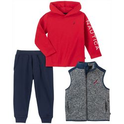 Nautica Toddler Boys 3-pc. Fleece Vest and Jogger Set