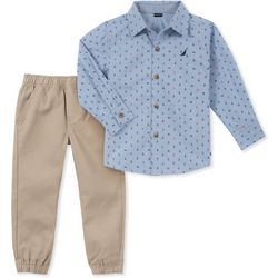 Nautica Toddler Boys Anchor Button Down Jogger Pants Set
